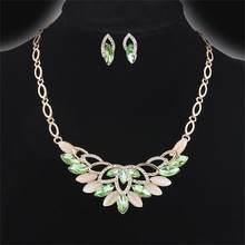 Luxus Braut Hochzeit Schmuck Sets Gold/Silber Überzogene Österreichische Kristall Halsreifen Halskette Bolzenohrrings Frauen Modeschmuck(China)