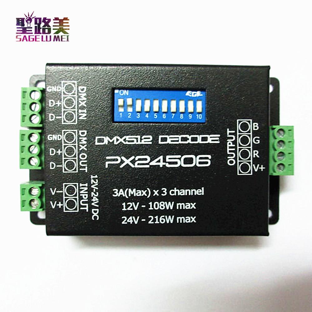 PX24506 DMX Decoder Driver 3X3A DMX 512 RGB LED Strip Controller 12V~24V(China (Mainland))
