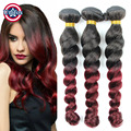 Peruvian Ombre Loose Wave 3 Bundles With Closures Burgundy Human Hair Weave With Closure 1B 99J Peruvian Ombre Hair Extensions