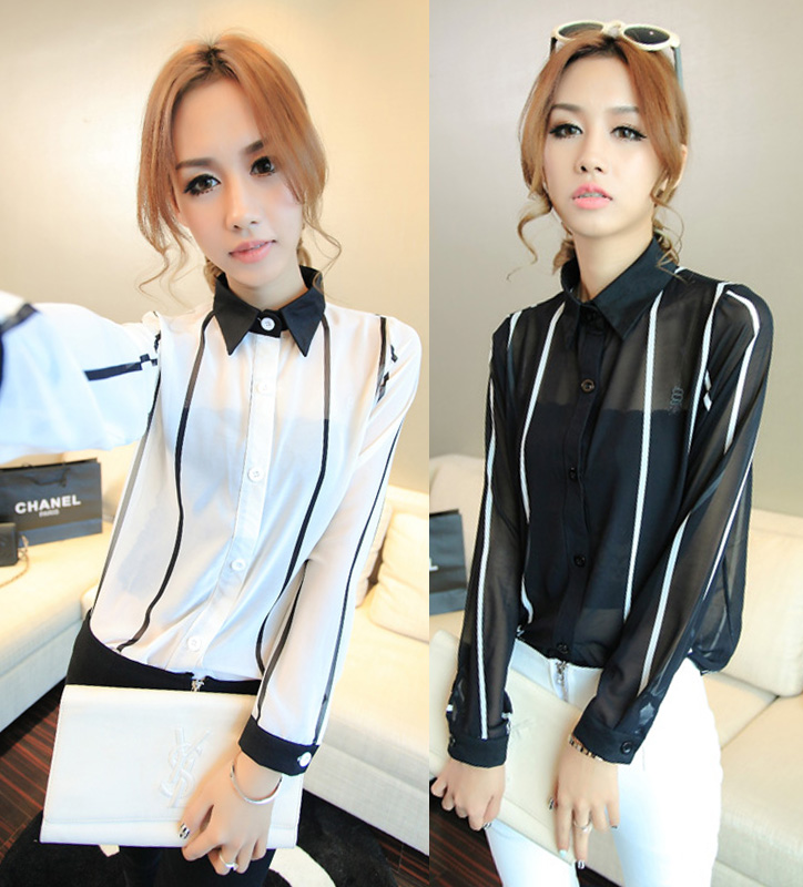 Autumn 2013 fashion turn-down collar polo vertical stripe perspectivity long-sleeve chiffon shirt h61x - Incredible zone store