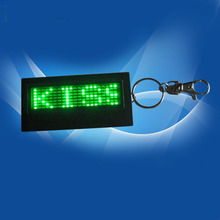 Button Battery Powered LED Badge LED Screen Display Green Adjust Brightness with Key Chain Hot Free Shipping New(China (Mainland))