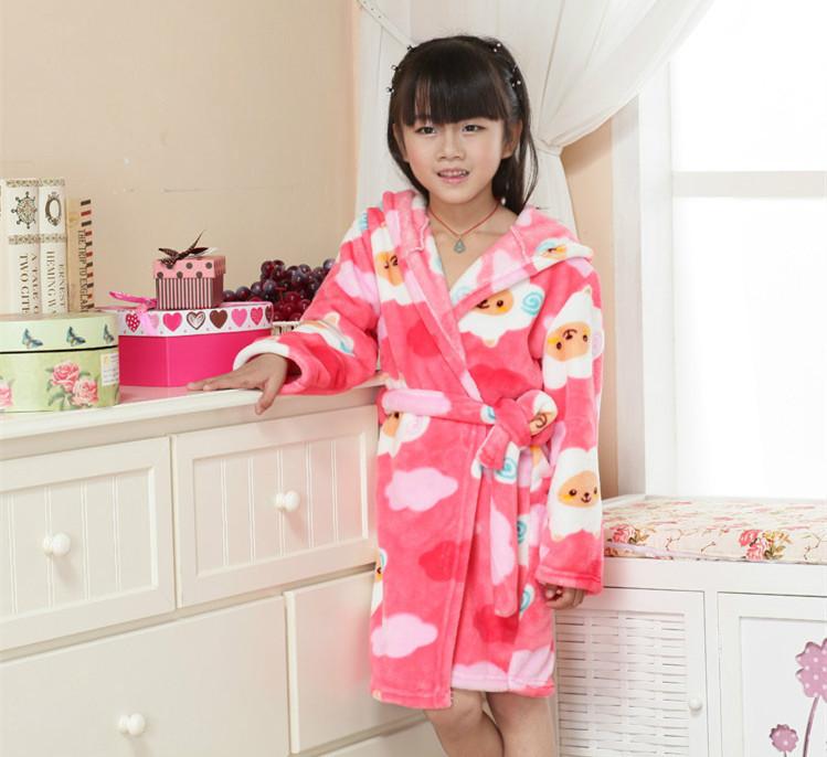 Hot Kids Flannel Nightgown Winter Bathrobe Warm Bathrobe Fleece Nightgowns Children Robes Bath Kids Girls Robe Sleepwear