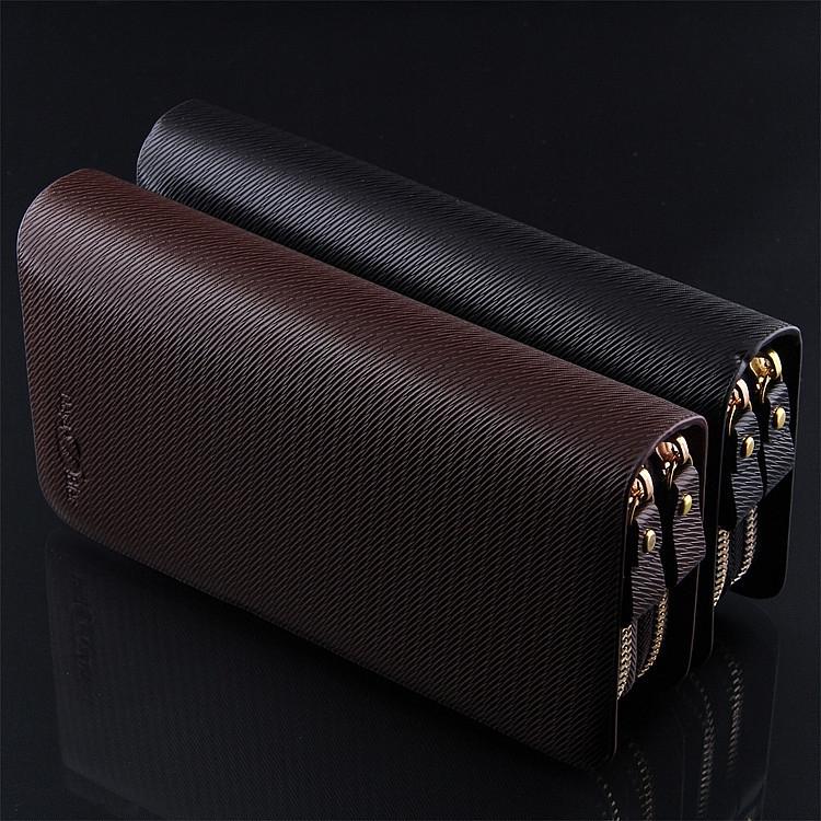 2014 Genuine Leather Men Fashion Black Brown Double Zipper Wallet Men's Multi Card Large Capacity Clutch Purses - Friend World store