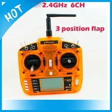 2.4GHz 6 channel orange RC radio transmitter with three position flap 10-model memory with large LCD display