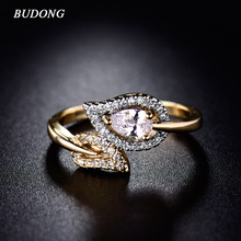 Buy BUDONG Infinity Ring Women Valentine Day Fashion Leaf Love Band Gold-Color Ring Crystal Cubic CZ Engagement Jewelry XUR228 for $3.98 in AliExpress store