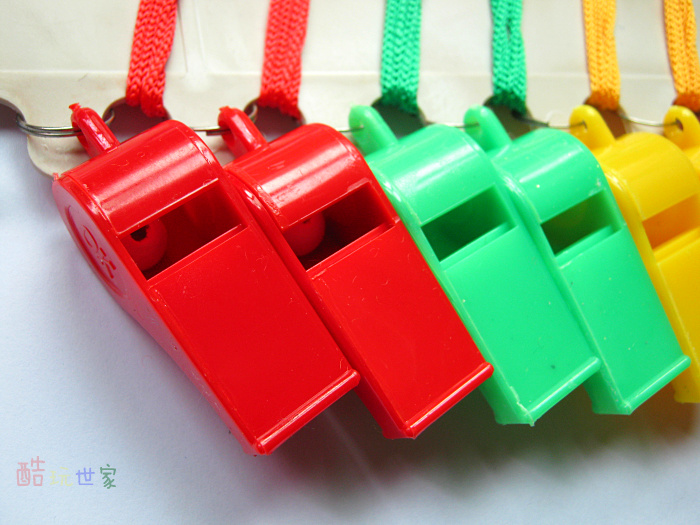 free shipping 24pcs/lot Colored plastic whistle referee whistle for cheering sport meeting(China (Mainland))