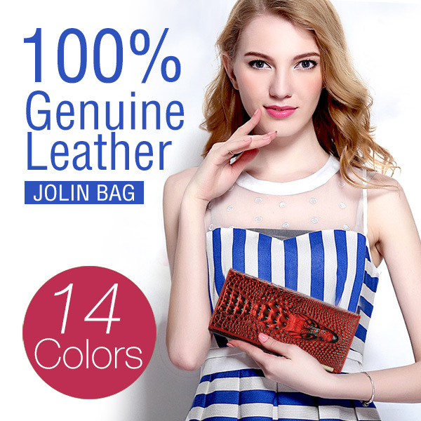 2015 New 100% Genuine good leather brand women wallets 14colors Crocodile 3D purse wholesale fashion leather wallets hot selling(China (Mainland))