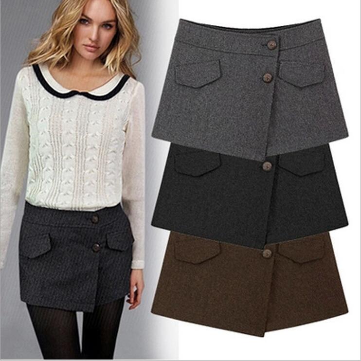 2015 Woman shorts winter Ladies Asymmetrical Geometric Shape Woolen Shorts Casual Trousers Culottes Short Pants shorts women(China (Mainland))