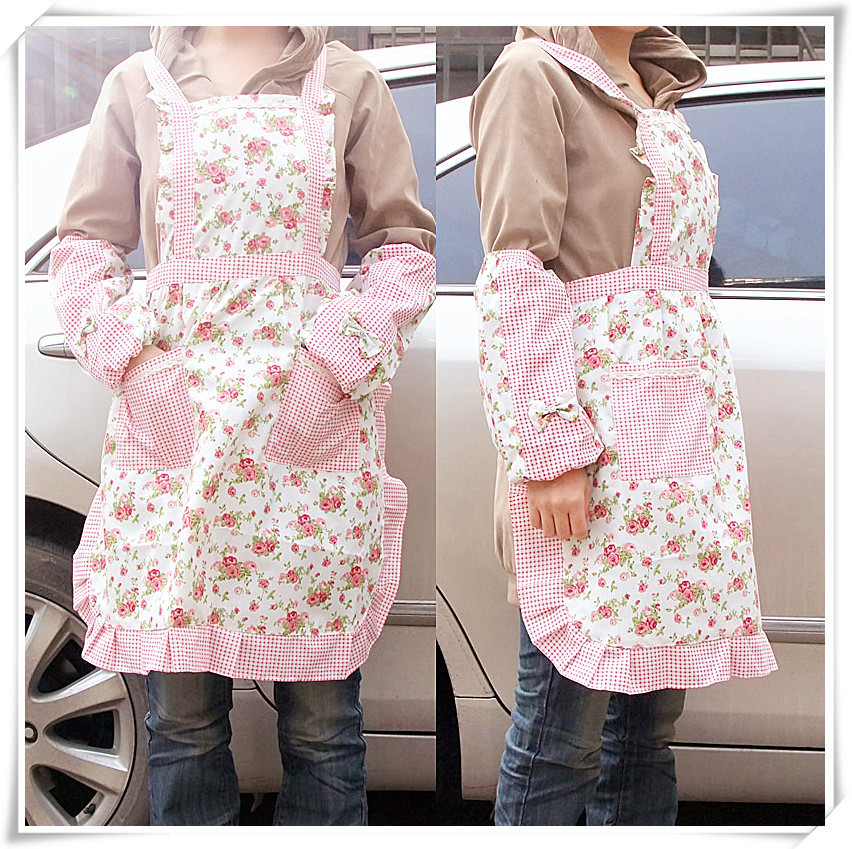 Wholesale Cook kitchen cooking funny apron logo novelty Aprons with pockets for woman Rustic canvas princess dress style apron(China (Mainland))