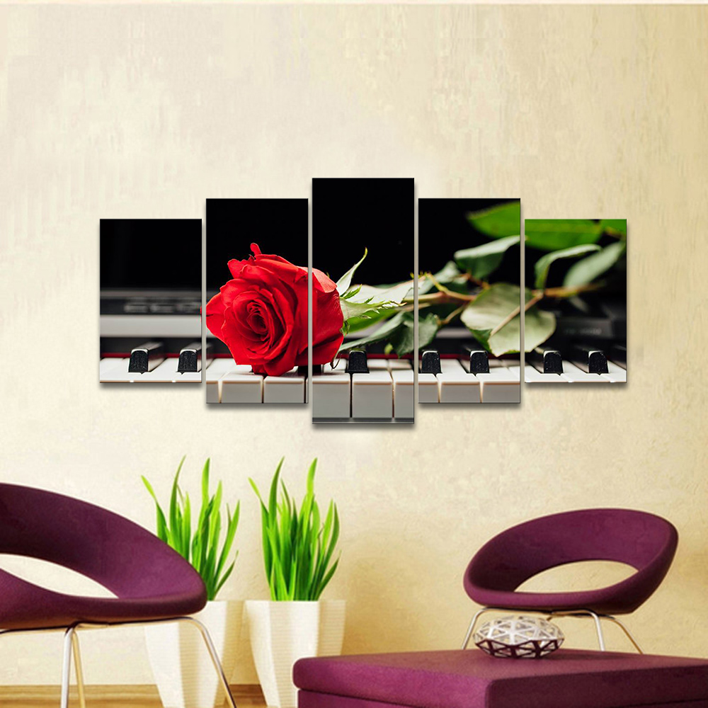 Red Rose and Piano Modern 5 Pcs Framed Canvas Prints Artwork Abstract Music Floral Pictures Paintings on Canvas Wall Art Decor()