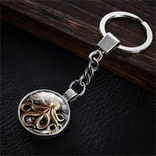 Steam Punk Style Silver Plated with Dome Glass Cabochon Double Side Clock Pattern Car Key Chain Ring(China (Mainland))