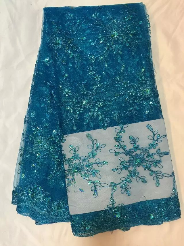 2015 newly arrived beautiful flower pattern delicate and bright blue, water soluble lace fabric network in Africa(China (Mainland))