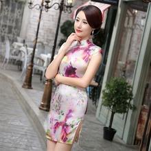 New Arrival Mini Slim Women Cheongsam Dress Chinese Ladies Silk Satin Qipao Novelty Sexy Flower Dress Size S M L XL XXL F080969