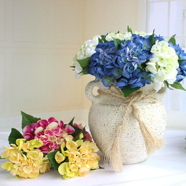 Faux Artificial Silk Flower Home Wedding Decor Bridal Hydrangea Craft Art DIY Free Shipping(China (Mainland))