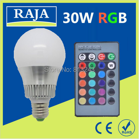 Free Shipping E27 E14 9W/30W AC85-265V RGB led Bulbs Lamp with Remote Control Multiple Colour LED Lighting chandelier(China (Mainland))