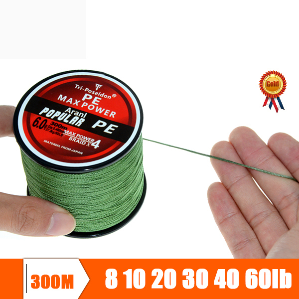 Tri-Poseidon Brand Super Strong Japanese 300m Multifilament PE Material Braided Fishing Line 6 8 10 20 30 40 50 60 70 80 100LB(China (Mainland))