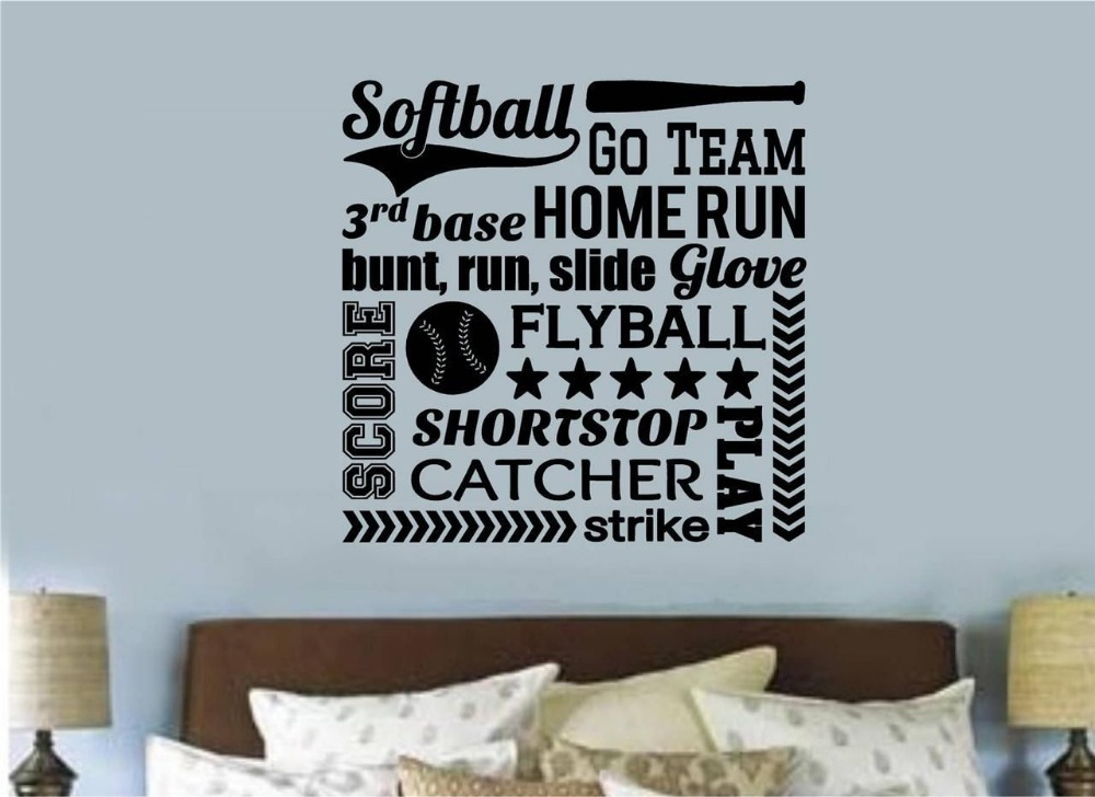 Softball Sports Vinyl Wall Decal Softball Lettering Word Collage Mural Art Wall  Sticker Bedroom Home Decoration