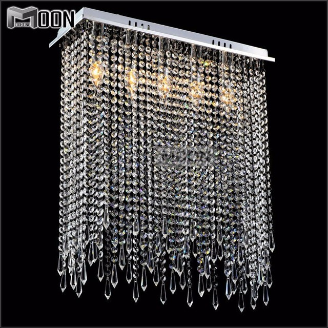 rectangle forme cristal plafonniers luminaire clear rideau crystal light lustres lampe pour. Black Bedroom Furniture Sets. Home Design Ideas
