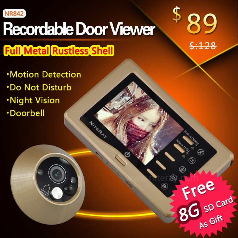IR infrared video peephole door eye viewer camera with doorbell function(China (Mainland))