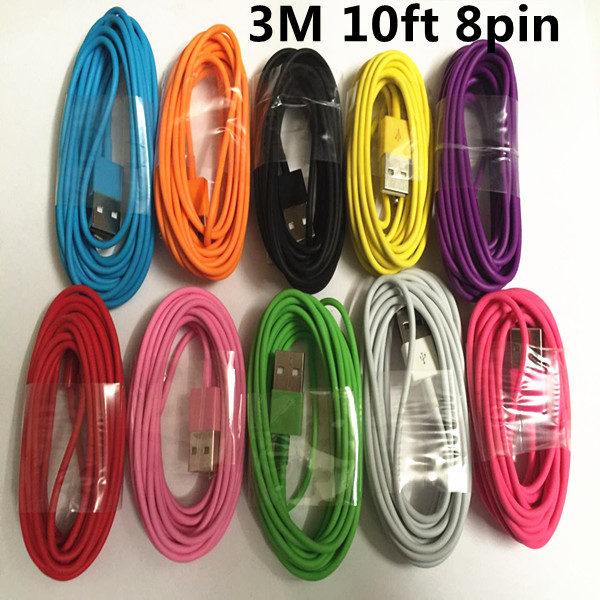 100pcs 3M 10ft ios9 8 pin to USB Cable 2.0 Adapter IOS9 Cable for iPhone 6 plus for iphone5 5s 5c colorful cheap price(China (Mainland))