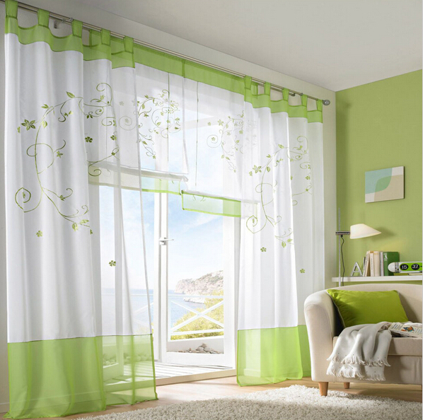 1 piece Countryside Embroidered String Curtains Living Room Bedroom Curtain Sheer Print Fabric Cortinas Blinds ZHW050(China (Mainland))