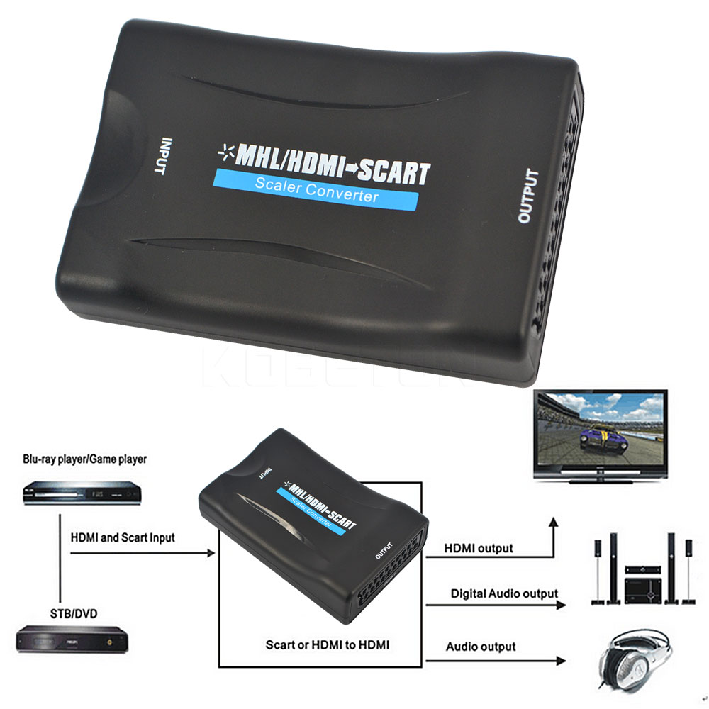 New 1080P HDMI to scart Adapter MHL to SCART HDMI Video Converter for Samsung Smartphone to CRT TV DVD HDMI TO SCART Converter(China (Mainland))