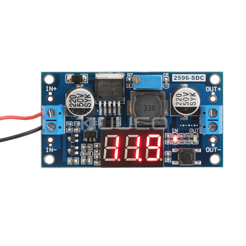 Гаджет   LM2596 Adjustable Voltage Regulator DC 4.0~40 to 1.3-37V 2A Step-down Power Supply with Red LED Voltmeter #090118 None Электротехническое оборудование и материалы