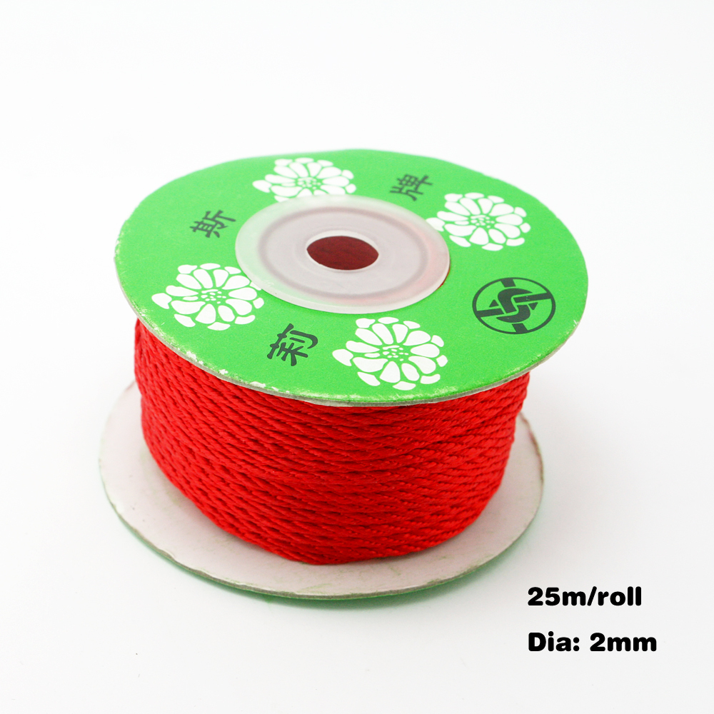 2MM Braided Cord Bead Rope 125m/lot Red Wire For Necklace / Bracelet DH-FXP004-03(China (Mainland))