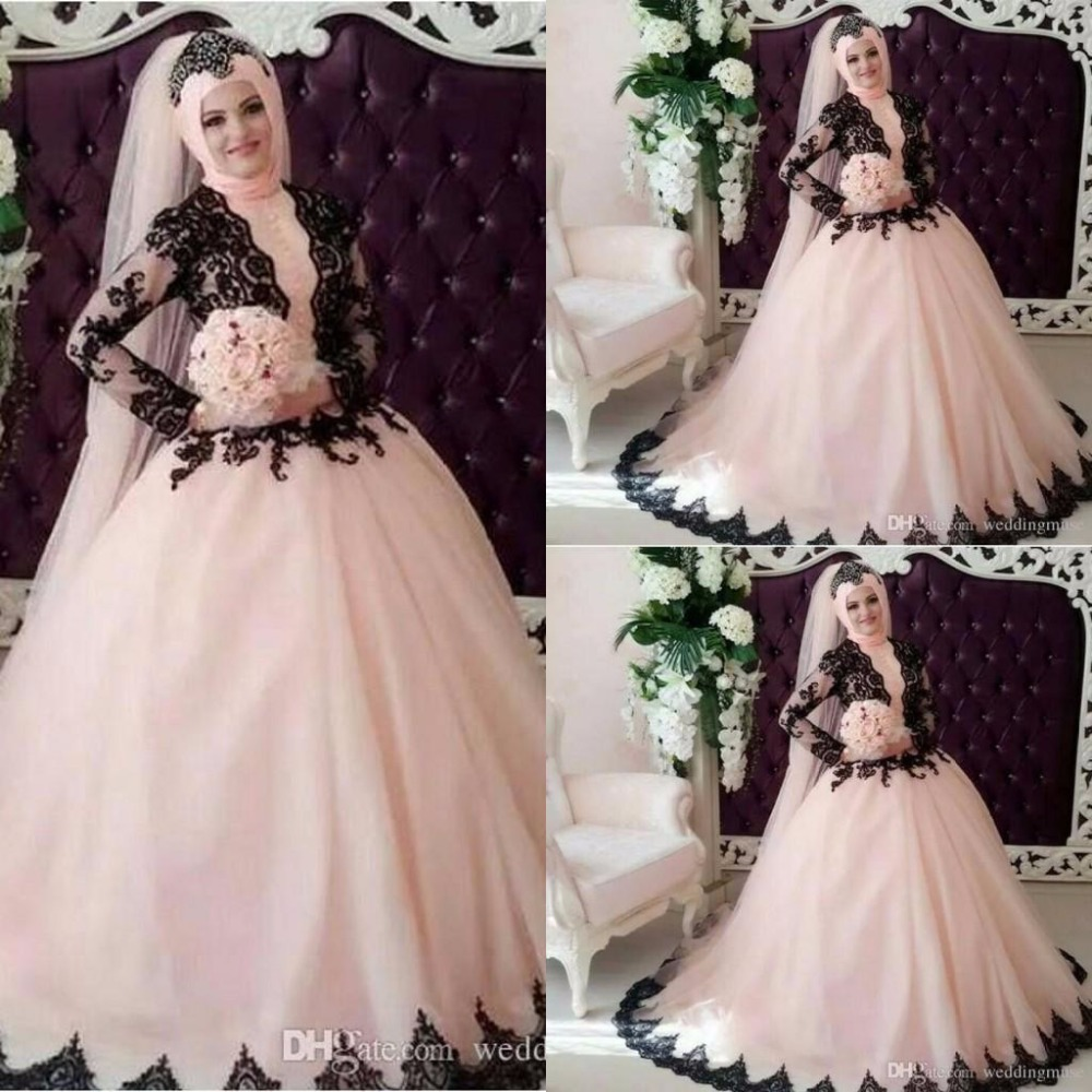 Elegant black lace vintage pink muslim wedding dresses for Black designer wedding dresses
