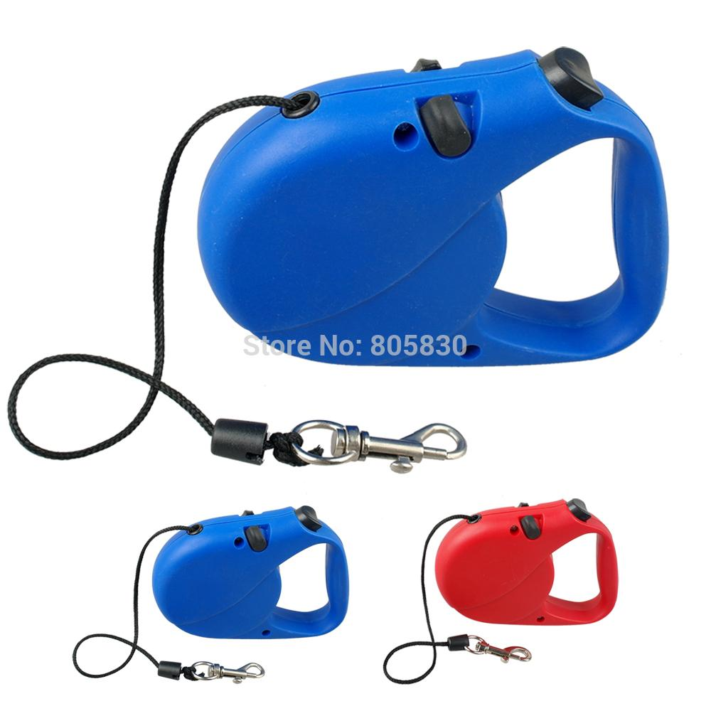 Blue/Red Retractable Dog Leash Extending Puppy Leads 3M 5M Nylon Rope(China (Mainland))