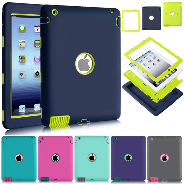Shockproof For Apple iPad 2 iPad 3 iPad 4 Heavy Duty Rubber Hard Case Cover w/Screen Protector Film+Stylus Pen