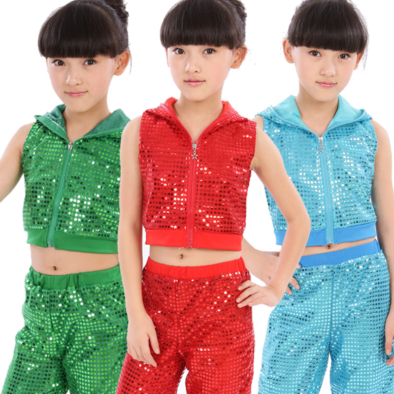 Sequined Jazz Dance Hip hop Costumes Stage Performance Clothing Boys Girls Holiday Show Children Wear Tank +Pant - Joyce Store store