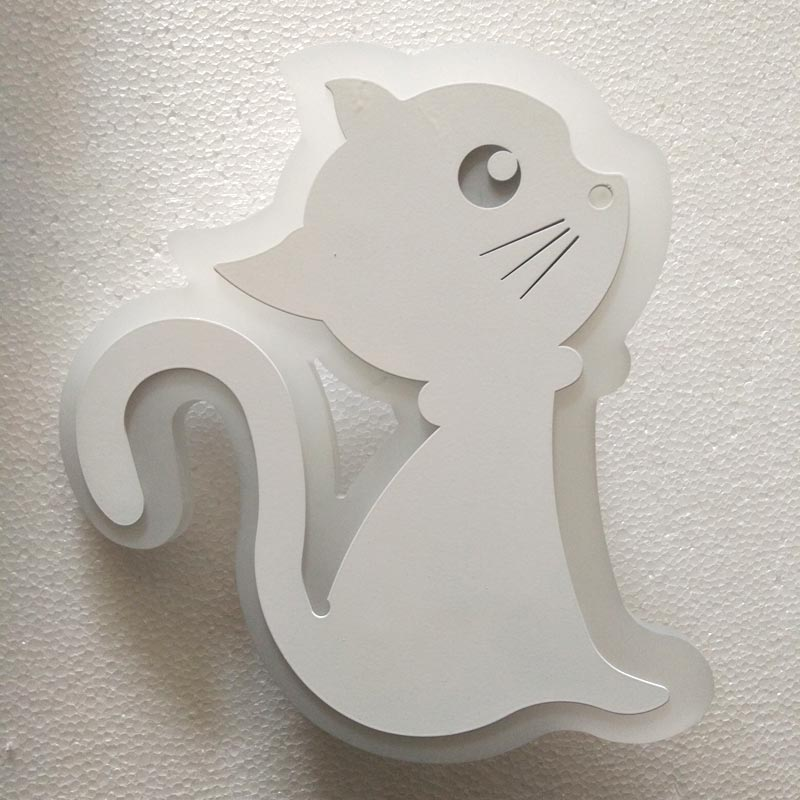 Modern Led Children Wall Lamp Bedroom Bedside Sconce Cat Acrylic Lampshade White Painting Iron Indoor Home Lighting 110-220V(China (Mainland))