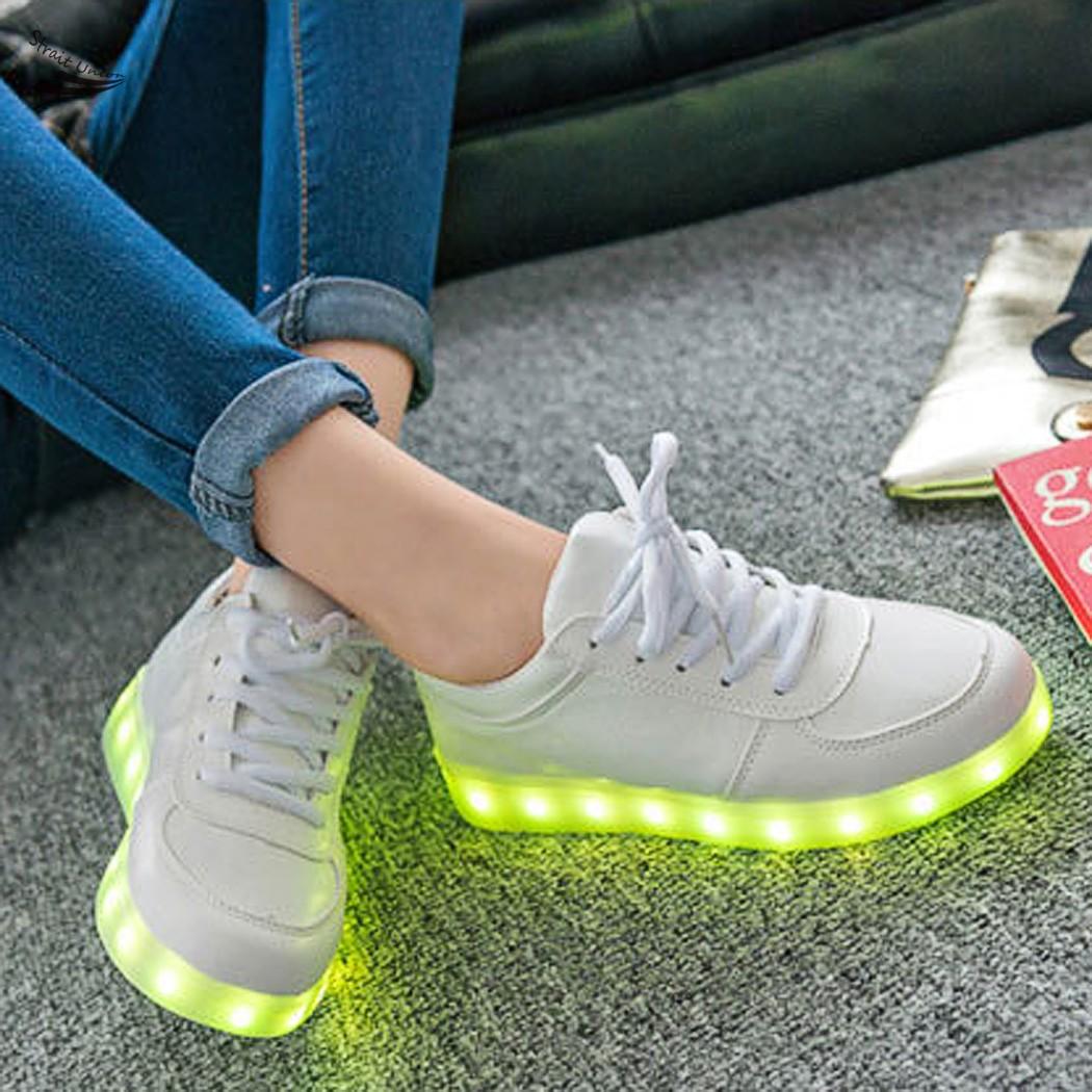 Aliexpress.com Comprar Blanco LED luminoso zapatos unisex LED hombres mujeres zapatos de carga USB luz zapatos para adultos 63 de zapatos para las niñas