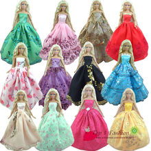 Baby girl kids birthday gift 30items=10dress+10 shoes+10accessories Doll' s Wedding Dress Clothes Gown dress For Barbie doll(China (Mainland))