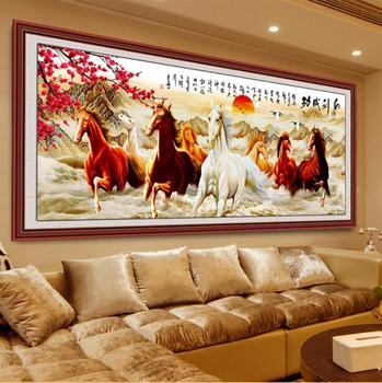 DIY 5D Diamonds Embroidery Eight Horses Win Instant Success Magic Cube Round Diamond Painting Cross Stitch Diamond Mosaic