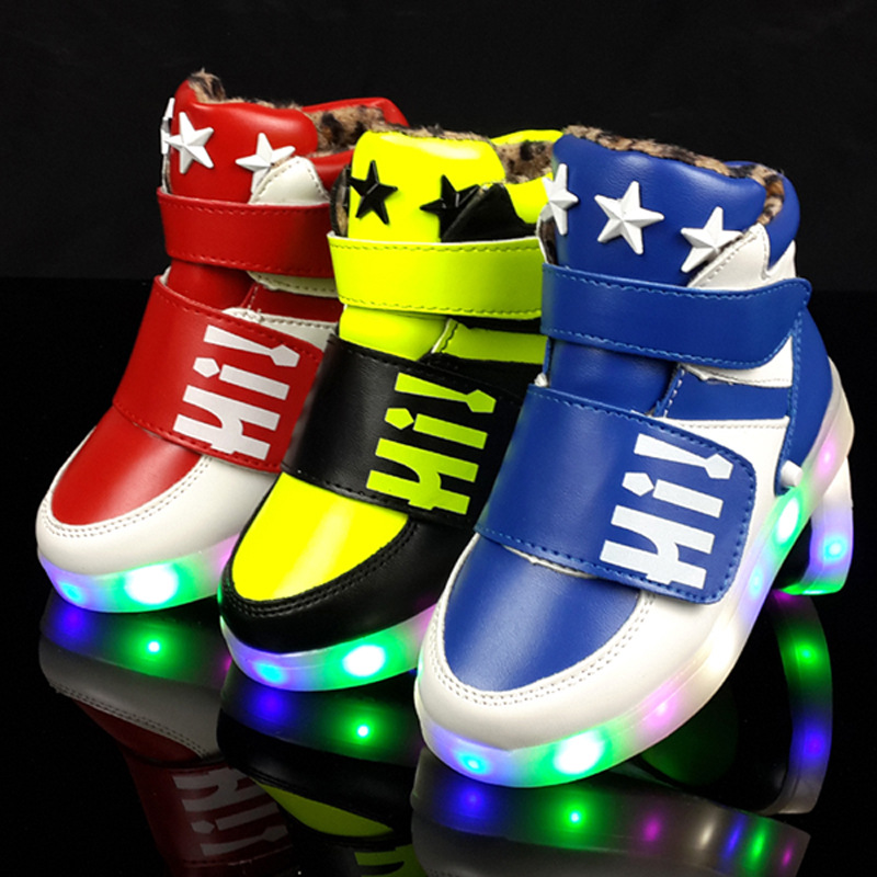 Children Shoes 2016 Hook Loop LED Winter Lighted Kids Sneakers Led Boys Girls Sports Casual
