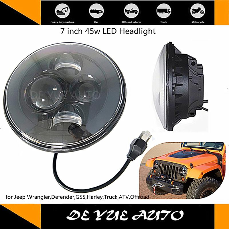 Good news! free shipping 45w car external lights 7 inch round led headlights hi / lo beam led light for car Jeep wrangler harley(China (Mainland))