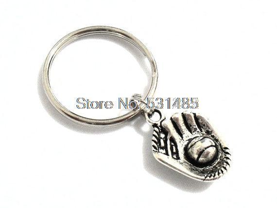 12pcs Softball Keychain Baseball Glove Charm charm Key Ring, Gifts for Baseball Player Jewelry silver tone(China (Mainland))