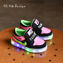 2016 spring autumn sneakers baby PU leather sneakers girls shoes high top boys glowing sneakers children Led light shoes rose(China (Mainland))