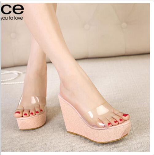 2015 Summer Glitter Womens Open Toe Wedge High Heel Platform Flip Flop Slide Slipper Sandals - Shop639677 Store store