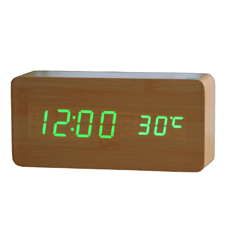Best High-end Digital clocks, Desktop Clock Home Decor Thermometer Wooden LED clock + Alarm Clock(China (Mainland))