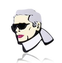 Karl Portrait Plastic Cool Man Brooch Pin Women Figure Fashion Jewelry Accessory Gift 2016
