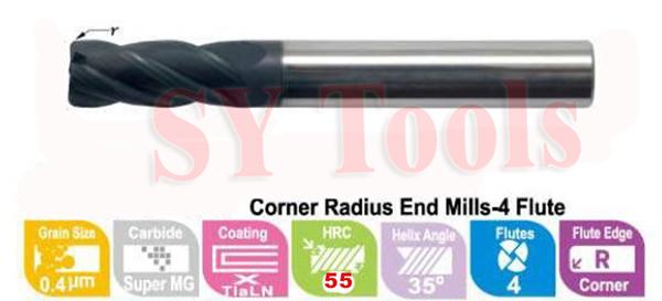 D8*R1.0*20*D8*60 Corner Radius EndMills hrc55 CNC (4 flutes)(China (Mainland))