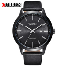 2016New CURREN Quartz Watch Genuine Leather Strap Business Casual Round Dial Watches Waterproof Military Wristwatch 8114
