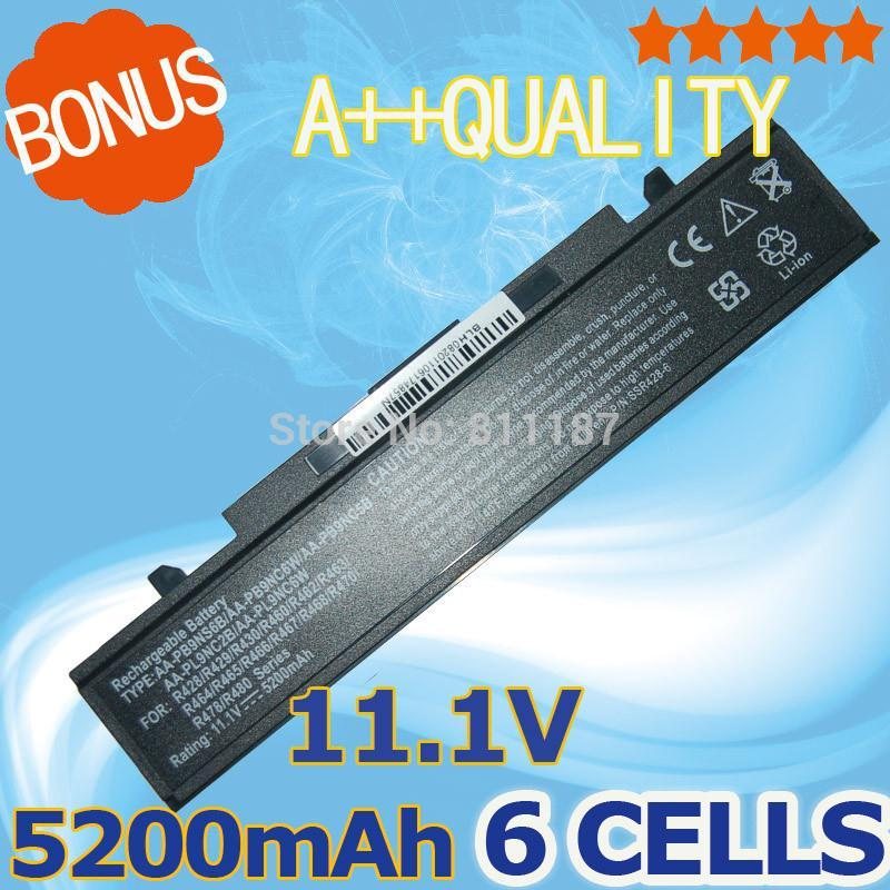 5200mAh Battery For SamSung AA-PB9NC6B AA-PB9NS6B PB9NC6B R580 R540 R519 R525 R430 R530 RV511 RF511 RV411 RV508 R510 R528 R522(China (Mainland))