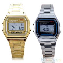 Men Women Vintage Stainless Steel LED Digital Stopwatch Sports  Wristwatches