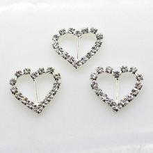 10pcsk 20mm*21mm Heart Silver Rhinestones Buckles Metal Diamante Diy Hair Accessory Bling Wedding(China (Mainland))