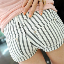 New summer women Plus Size candy color Polka Dot wild elastic thin vertical stripes shorts K0005