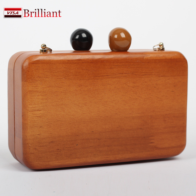 Handmade Wooden Clutch Wedding Candy Box storage/sewing/Jewelry/make up Box Wood Women Purses and Handbags Evening Bag Brown H11(China (Mainland))